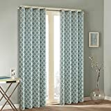 Cheap Hyprest Lattice Printed Linen Curtains Window Treatment Thermal Blackout Room Darkening Window Drapes for Bedroom 2 Panels Set – 8 Grommets per Panel by (52″ W x 63″ L)