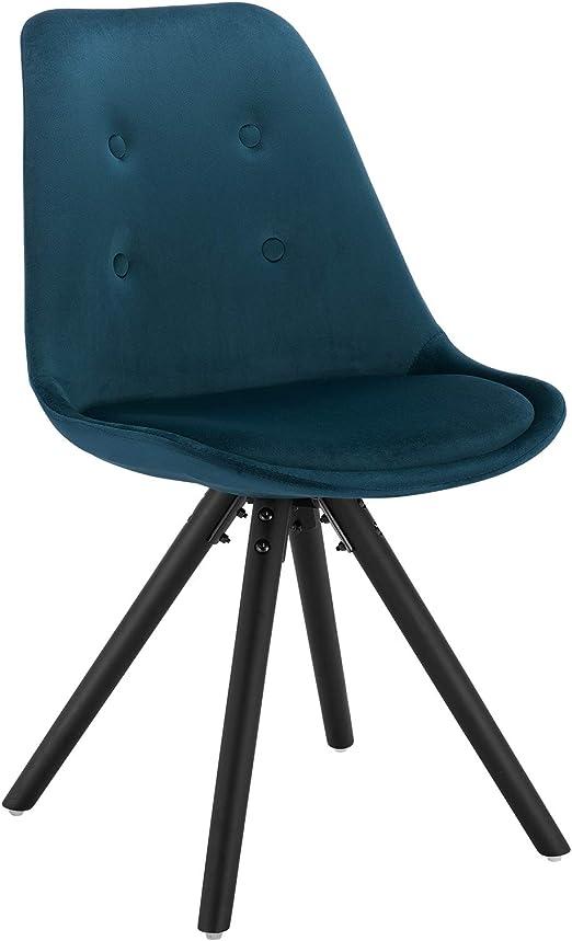 WOLTU® BH196bl 1 1 Stück Esszimmerstuhl, Sitzfläche aus Samt, Design Stuhl, Küchenstuhl, Holzgestell, Blau