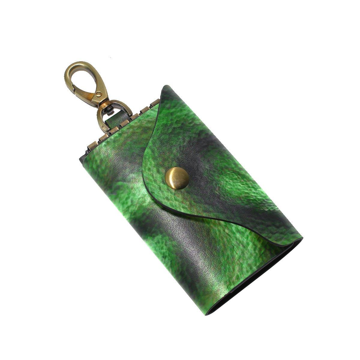 DEYYA Snake Leather Key Case Wallets Unisex Keychain Key Holder with 6 Hooks Snap Closure