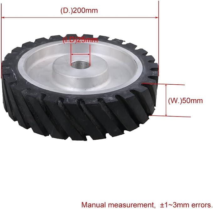 Mxfans 200 x 50mm Rubber Serrated Belt Grinder Wheel for Bearings Belt Grinde