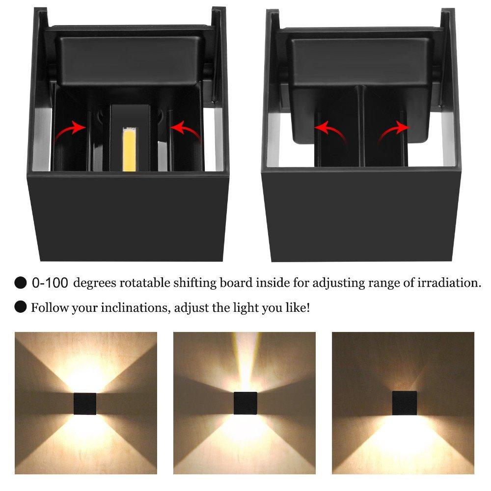 LED Aluminum Waterproof Wall Lamp ,12W 85-225V 6000K Adjustable Outdoor Wall Light Warm Light 2 LEDS (Black)