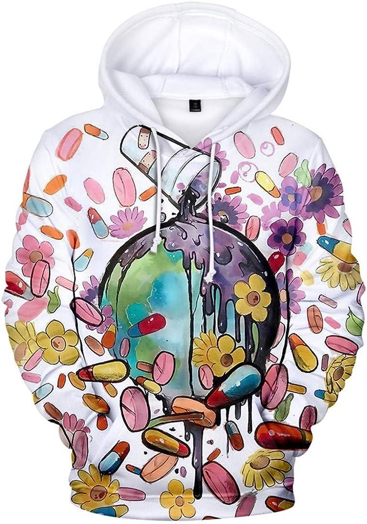 Silver Basic Unisex Juice Wrld Printed Winter and Autumn Hooded Sweatshirt