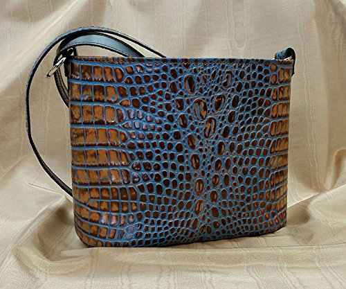 MoonStruck Leather Concealed Carry Purse - CCW Handbags -Blue Marine Crocodile - Made in the USA - Classic by MoonStruckLeather