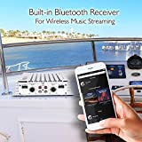 2.1 Bluetooth Marine Amplifier Receiver - Waterproof 4 Channel Wireless Bridgeable Audio Amp for Stereo Speaker with 400 Watt Power Dual MOSFET Supply, GAIN Level and LED Indicator - Pyle PLMRA410BT
