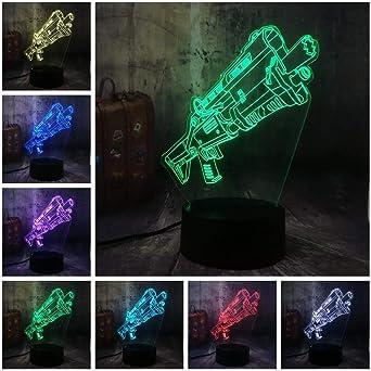 Novedad Cool Shot9un Battle Royale juego PUBG TPS LED lámpara de mesa de luz nocturna RGB 7 color niño juguete para niños decoración del hogar regalo: Amazon.es: Iluminación