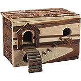 "B&P Hamster Hideaway Log Rodent Pet Toys -11x7.5x8"" Playroom for Gerbils Syrian Dwarf Hamster"