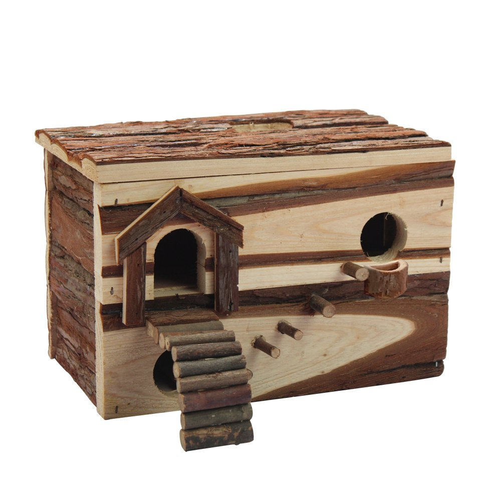 B&P Hamster Hideaway Log Rodent Pet Toys -11x7.5x8'' Playroom for Gerbils Syrian Dwarf Hamster
