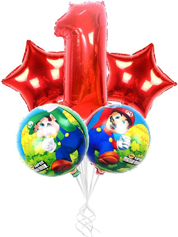 Hongkai Super Mario 1st Birthday Girl Decoration Boy Supplies Foil Balloons Set,32inch Red Number 1 Mylar Balloons Happy Birthday Banner One Banner Baby First Birthday Party Supplies