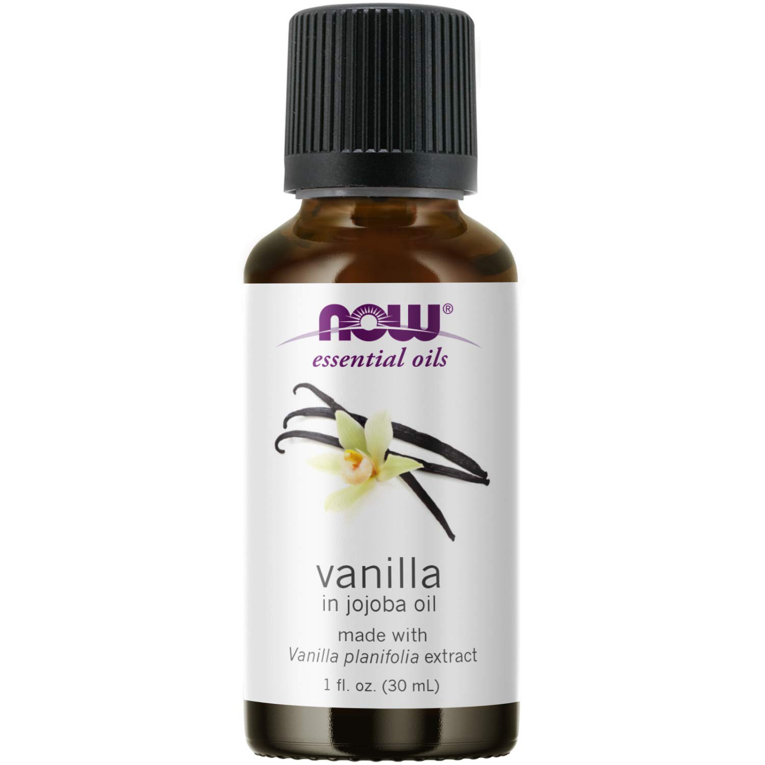 NOW Essential Oils, Vanilla Oil, Blend of Pure Vanilla Bean Extract in Pure Jojoba Oil, Sweet Aromatherapy Scent, Vegan, Child Resistant Cap, 1-Ounce