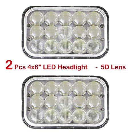 """4X6/"""" LED Headlights Light Bulbs Crystal Clear Sealed High Low Beam Headlamp"""
