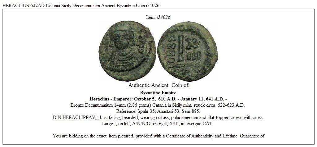 b39856174b 622 TR HERACLIUS 622AD Catania Sicily Decanummium Ancien coin Good at  Amazon's Collectible Coins Store