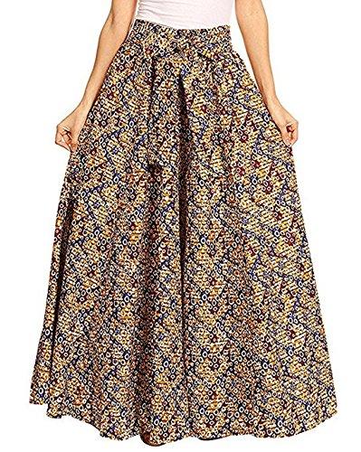 Monique Women Floral Print Pleated Maxi Skirt Adjustable Waist A-Line Long Skirt Summer Beach Full Skirts Yellow Red Blue from Monique