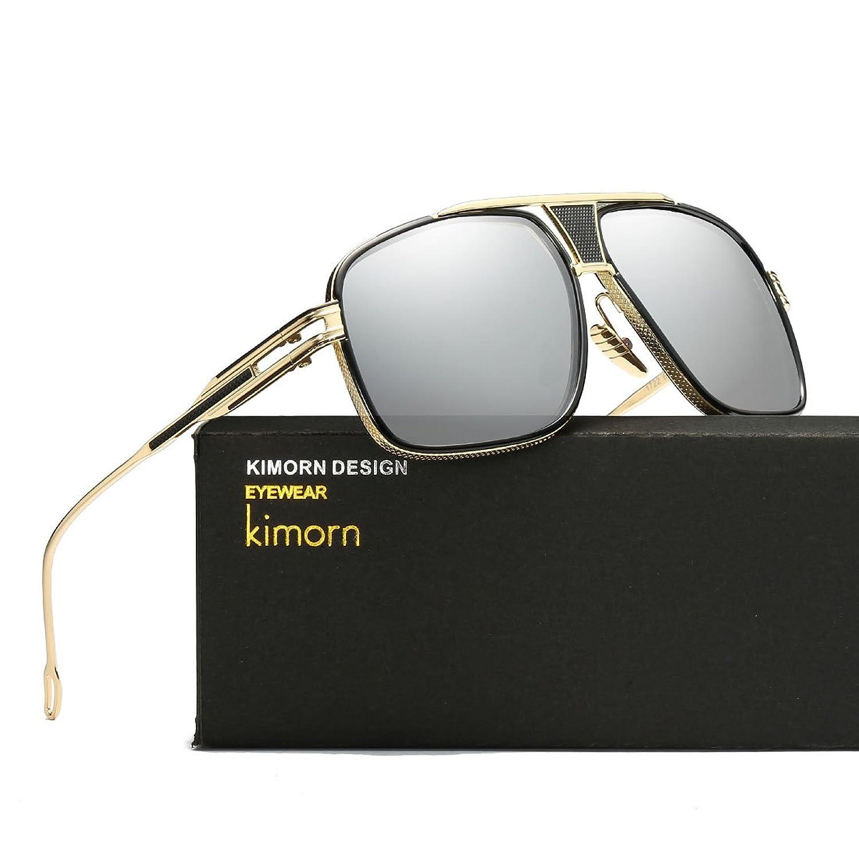Kimorn Lunettes de soleil pour hommes Retro Goggle Métal Cadre Lunettes Classiques AE0336 (Or&Marron, 62)