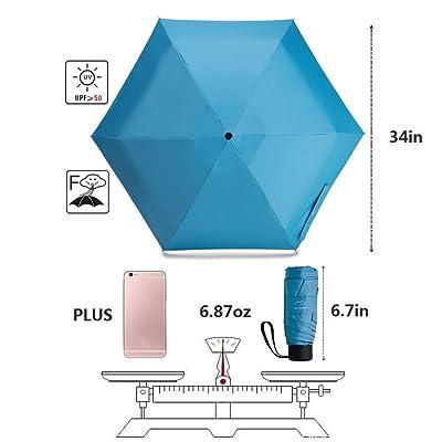 NOOFORMER Mini Travel Umbrella Compact Small Sun Women//Men A2-Blue