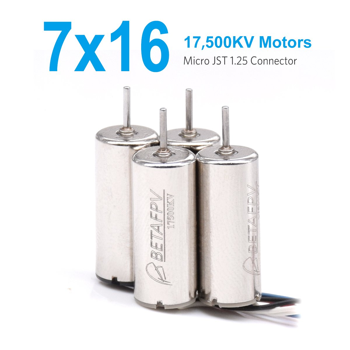 BETAFPV 7x16mm 17500KV Brushed Motors with JST-1.25 Connector 2CW 2CCW for Micro Whoop Beta65S frame or Eachine E011 etc