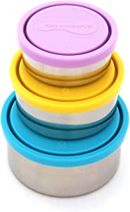 Kids Konserve Stainless Steel Food Container, Nesting Set of 3, Sky