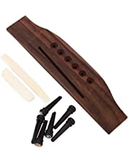 BQLZR Bone Saddle & Nut Ebony Bridge End Pins with Abalone Dot Rosewood Bridge for Acoustic Guitar Replacement