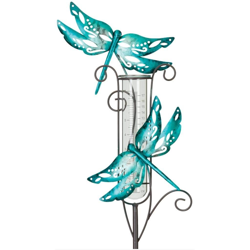 Regal Art & Gift 12090 Capri Rain Gauge Dragonfly Garden Stake, Blue