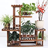 LIZX Solid Wood Flower Rack, Carbonized Wood Multi-Tier Flower Pot Rack, Indoor / Balcony Plant Stand