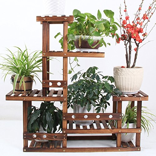 LIZX Solid Wood Flower Rack, Carbonized Wood Multi-Tier Flower Pot Rack, Indoor / Balcony Plant Stand by Flower Pot Stand