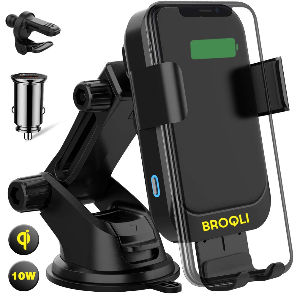 BROQLI Fast Wireless Car Charger Mount Kit, One Touch Automatic Clamping Qi Cell Phone 10W Power Charging Air Vent Dashboard Holder iPhone X/Xs Max/XR/8/8+,Galaxy S10/S10+/S9/S9+/S8/S8+ (HIMAN Black) by BROQLI