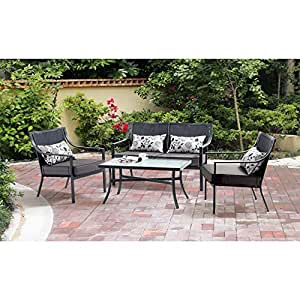 NEW Alexandra Square 4-Piece Patio Conversation Set, Grey with Leaves, Seats 4