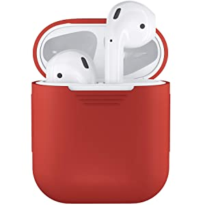 PodSkinz AirPods Case Protective Silicone Cover and Skin Compatible with Apple Airpods 1 & AirPods 2 [Front LED Not Visible] (Lava Red)