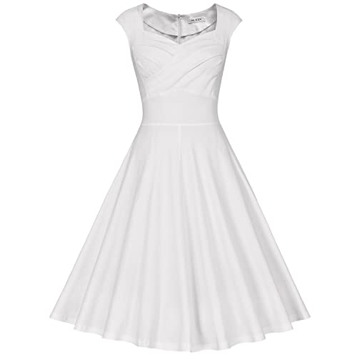 MUXXN Womens 1950s Retro Vintage Cap Sleeve Party Swing Dress