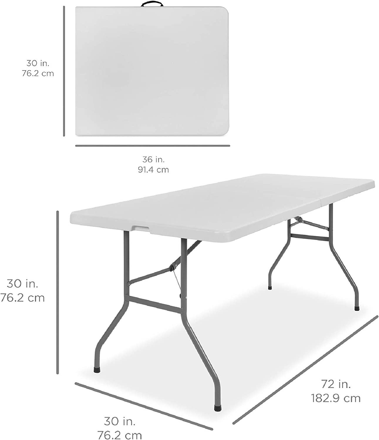 Best Choice Products 6ft Indoor Outdoor Heavy Duty Portable Folding Plastic Dining Table w/Handle, Lock for Picnic, Party, Camping - White: Garden & Outdoor