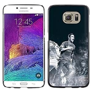 CASECO - Samsung Galaxy S6 - Ronaldo Soccer Player - Delgado Negro Plástico caso cubierta Shell Armor Funda Case Cover - Ronaldo jugador de fútbol