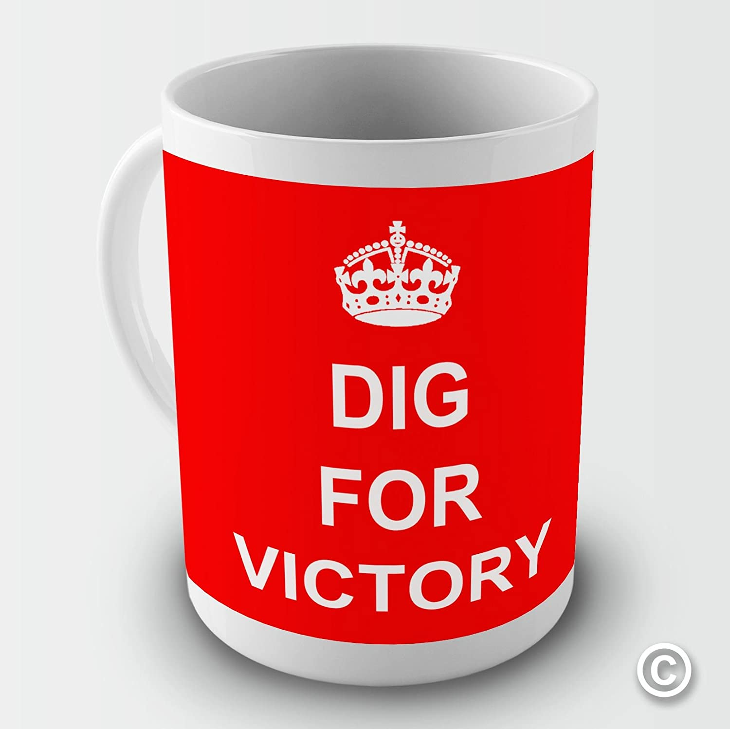 DIG FOR VICTORY KEEP CALM AND CARRY ON Novelty Mug Tea Coffee Gift Cup Retro TWISTED ENVY