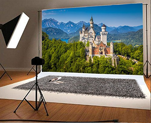 Laeacco 7x5FT Vinyl Backdrop Photography Background Famous Neuschwanstein Castle Romanesque Revival Palace Scenic Mountain Trees Landscape Germany Holiday Party Birthday Photo Portrait Studio