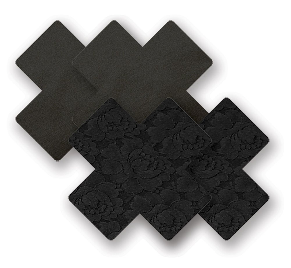 Nippies Black Cross Waterproof Self Adhesive Fabric Nipple Cover Pasties Size B 0876651000580