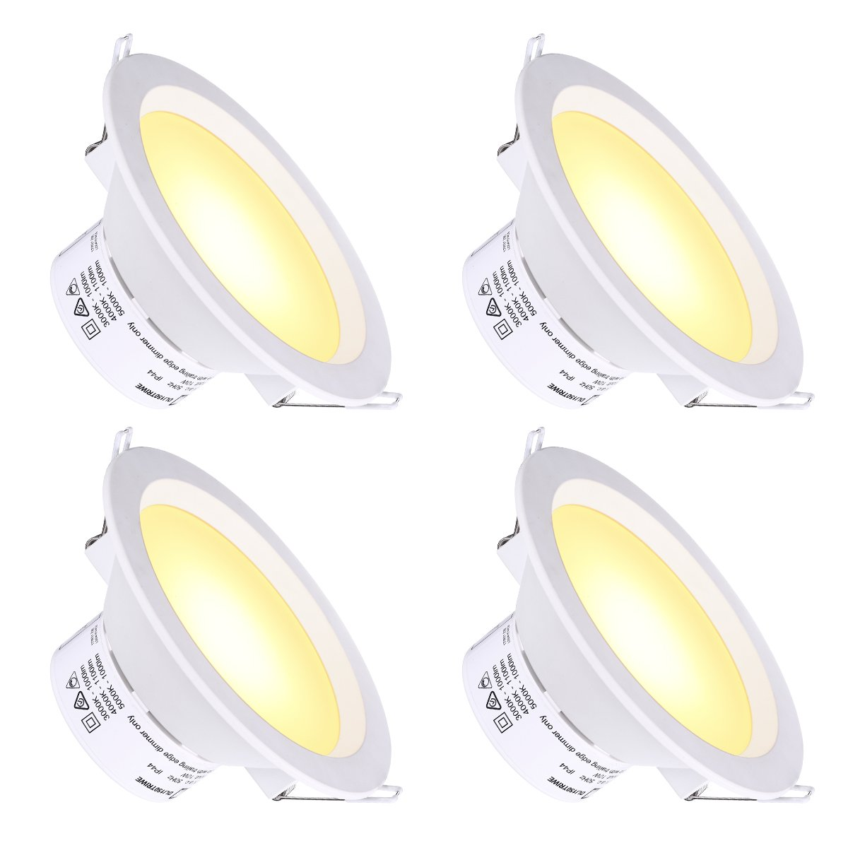 6'' LED Recessed Light with J-Box Adjustable Color Temp 10W Non-Dimmable LED Downlight for 100W Replacement, 1100 Lumens, 3000K/4000K/5000K, AC Power Plug, IC-Rated and Air Tight - Pack of 4