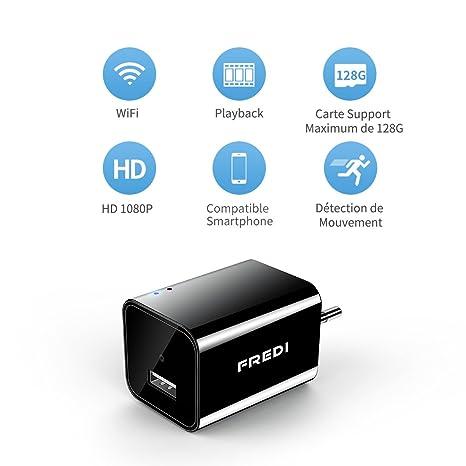 Fredi - Minicámara 1080P HD, cámara de vigilancia con Cargador USB, Cámara espía portátil