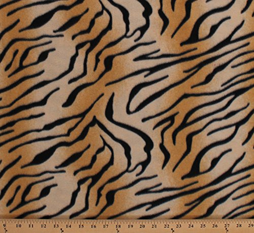 Fleece Tiger Print Animal Print Skin Stripes Tigers Animals Fleece Fabric Print by the Yard (4836P-11A) (Tigers Fleece Fabric)