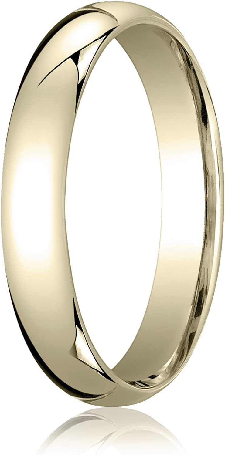 Men's 10K Yellow Gold 4mm Slightly Domed Standard Comfort Fit Wedding Band Ring