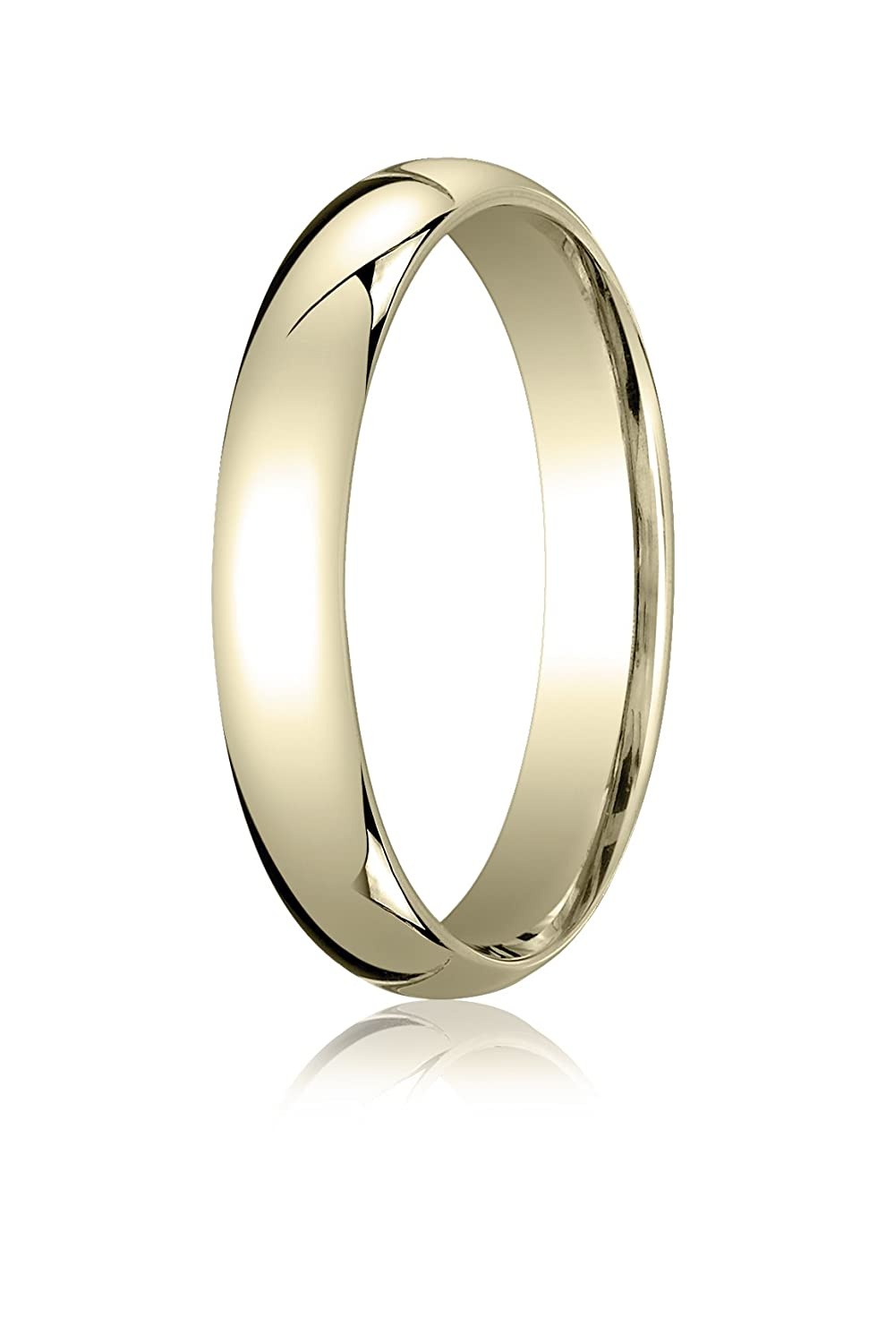 Mens 14K Yellow Gold 4mm Slightly Domed Standard Comfort Fit Wedding Band Ring