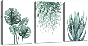 "Green Canvas Wall Art for Living Room Bedroom, Monstera Shallow Green Leaf Tropical Succulent Plant Picture Canvas Prints,Modern Framed Minimalist Water Color Set of 3 Piece 12"" X 16"""
