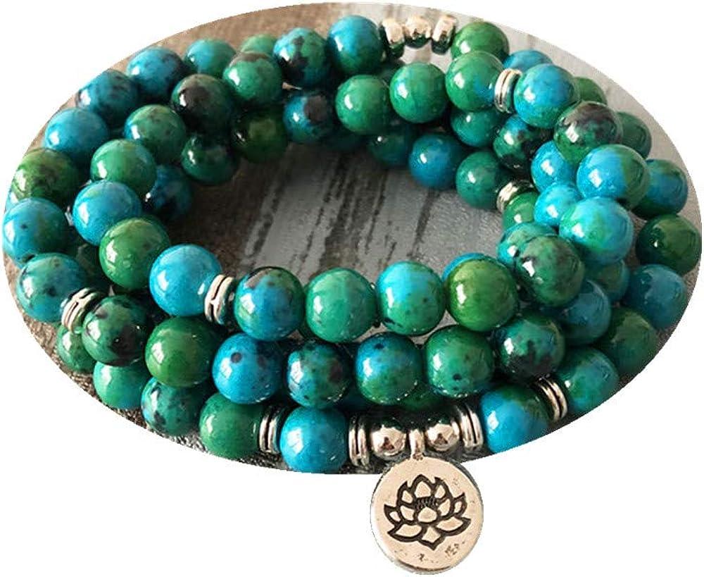 108 cuentas verdes Mala pulsera Lotus Flower OM muñeca budista Buda pulseras de yoga para hombres unisex pulsera de piedra azurita