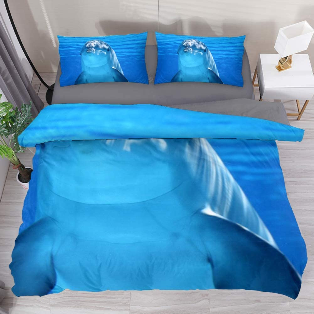 LORVIES Dolphin Duvet Cover Set, 3 Piece - Microfiber Comforter Quilt Bedding Cover with Zipper, Ties, Decorative Bedding Sets with Pillow Shams for Men Women Boys Girls Kids Teens