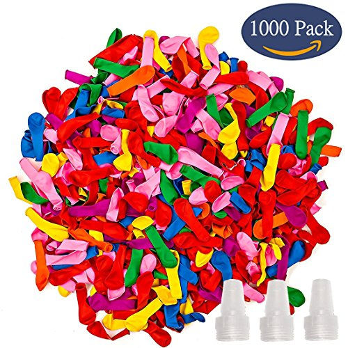 1000 Pack Water Balloons Refill Quick & Easy Kit Latex Water Bomb Balloons Fight Games - 1000 Balloons + 3 Quick & Easy Hose (Orange Water Balloons)