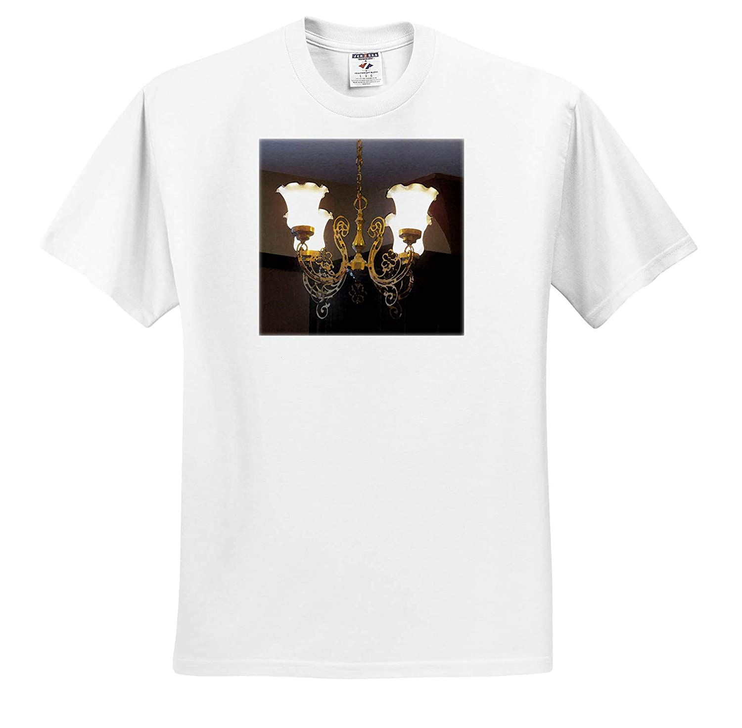 3dRose Jos Fauxtographee an Old Chandelier at The Mizpah Hotel with Lights on in a Dark Hall Mizpah Chandelier T-Shirts