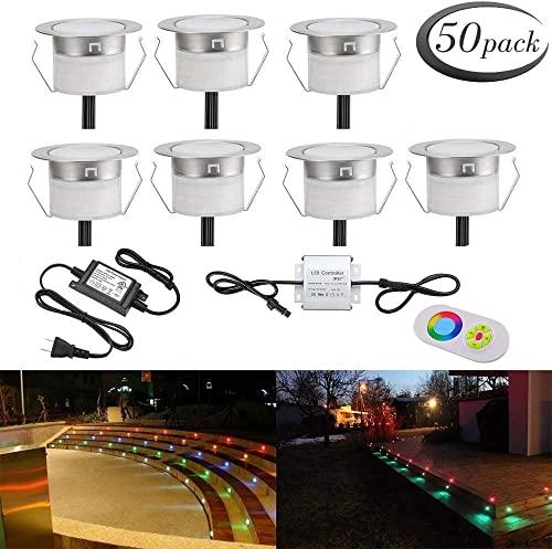 LED Deck Light Kit, Low Voltage 50 pcs Waterproof IP65 1.22 Recessed Deck Lamp RGB LED In-ground Lighting Outdoor Garden Yard Pathway Patio Stair Landscape Decor Lamp