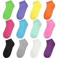 Falari 12 or 24 Pairs Girl Toddler Kids Cotton Socks