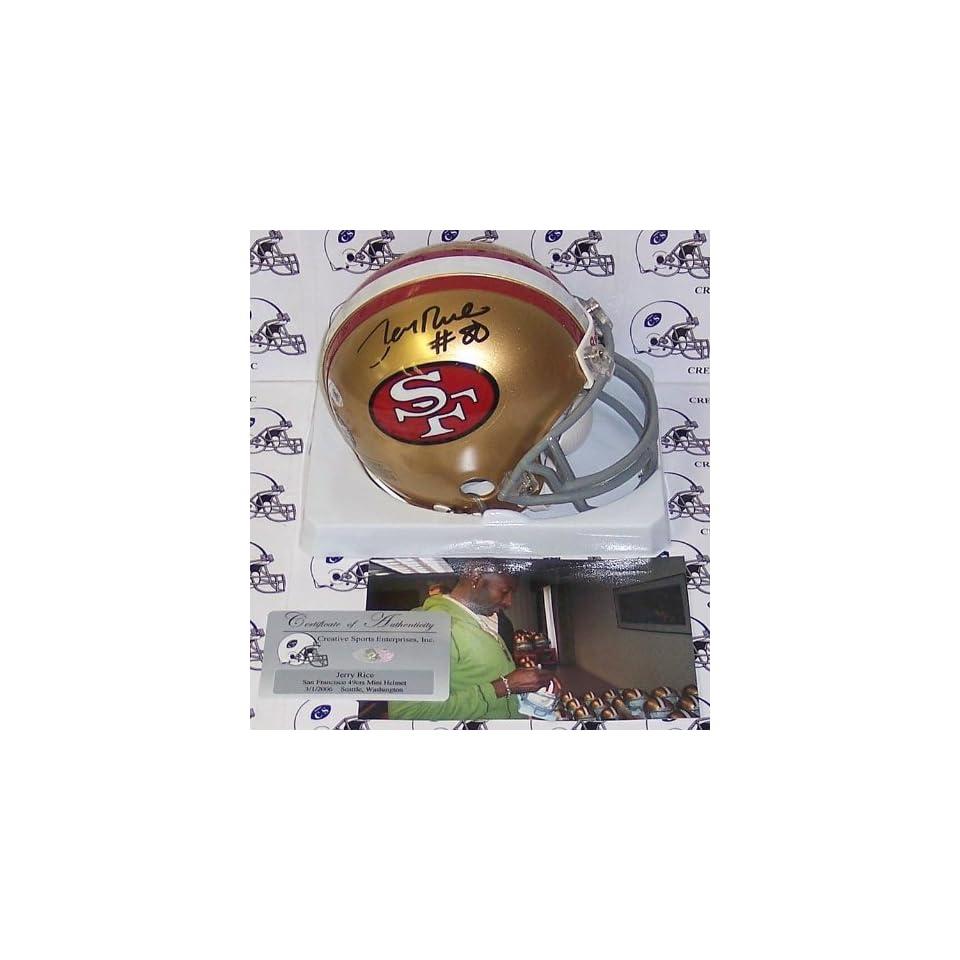 Jerry Rice Autographed Mini Helmet   Riddell T B S F 49ers