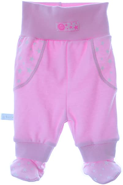 33b093be21 Baby Hose mit Füßchen Rosa Baumwolle Gr.50 bis 92 La Bortini: Amazon ...