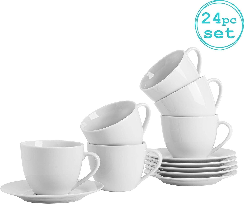 Taza/Platillo Set Blanco Café Cappuccino - 320 ml - Set de 12: Amazon.es: Hogar