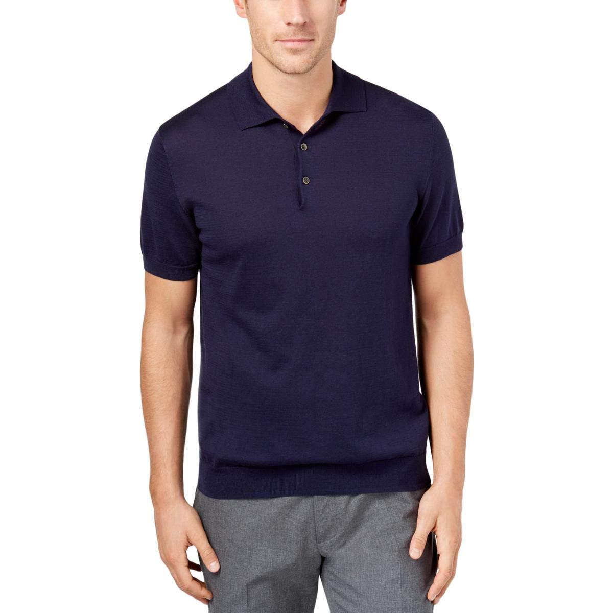 0158aa2d Tasso Elba Mens SS Rugby Polo Shirt navyblue L