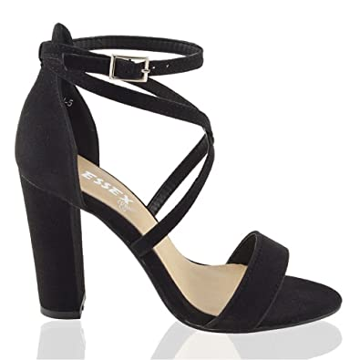 Amazon.com | Essex Glam Womens Strappy Block Heel Ankle Strap ...